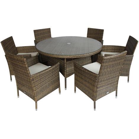 """main image of """"Charles Bentley Garden Outdoor 6 Piece Rattan Dining Set Natural - Beige"""""""