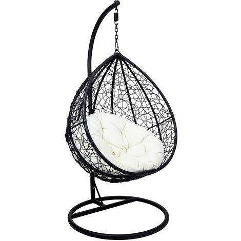 Charles Bentley Garden Wicker Rattan Patio Hanging Swing Chair Seat - Black