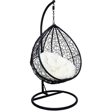 "main image of ""Charles Bentley Garden Wicker Rattan Patio Hanging Swing Chair Seat - Black - Black"""