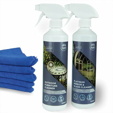 Charles Bentley Glass and Outdoor Furniture Cleaner with Microfiber Cloths