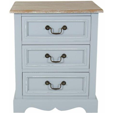 Charles Bentley Grey Loxley Vintage Solid Wood 3 Drawer Bedside Table Cabinet