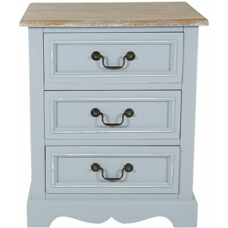 Charles Bentley Grey Loxley Vintage Solid Wood 3 Drawer Bedside Table Cabinet - Grey