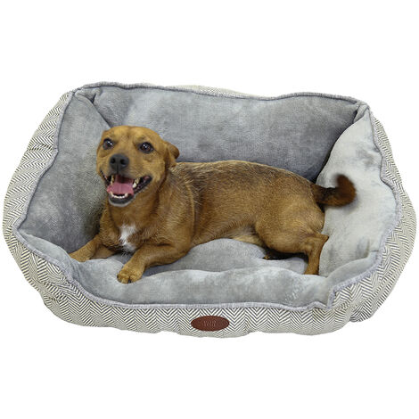 Charles Bentley Grey Plush Soft Furry Washable Dog Cat Pet Bed - S, M, L