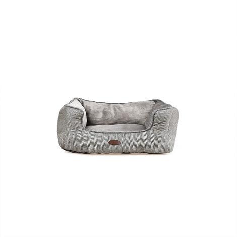 Charles Bentley gris en peluche doux Furry Lavable Chien Chat Bed- moyen