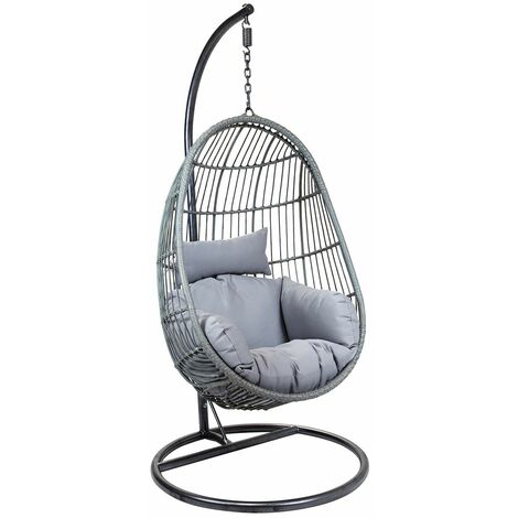 """main image of """"Charles Bentley Hanging Egg Shaped Rattan Swing Chair With Cushion - Grey - Grey"""""""