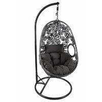 Charles Bentley Hanging Garden Patio Outdoor Rattan Swing Chair - Sand / Grey
