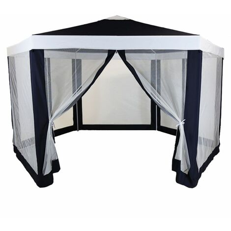 Charles Bentley Hexagonal Gazebo with Mesh Sides Blue/Beige Showerproof - BEIGE, BLUE