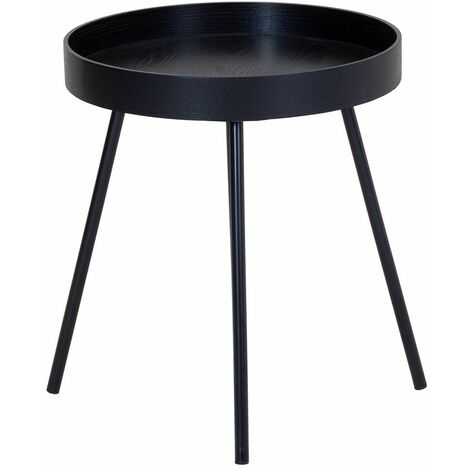 Charles Bentley Industrial Style Scandi Tray Bedside/Side Table Black