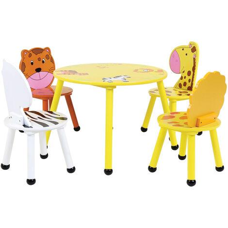 Charles Bentley Jungle Safari Wooden Table & 2*4 Chairs Set Children's Furniture
