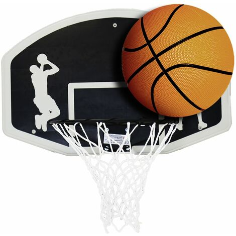 Charles Bentley Kids Basketball Ring Net And Ball Set Official Size 7 Basketball - BLACK, WHITE