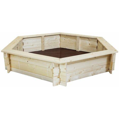 "main image of ""Charles Bentley Kids Children Outdoor Hexagonal FSC Wood Sand Pit Box Play - Brown"""