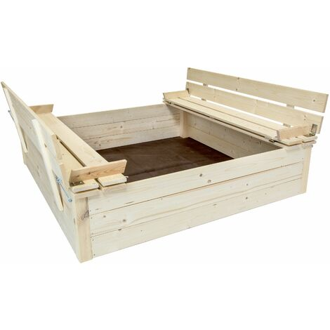 Charles Bentley Kids Children's Square FSC Wood Sand Pit With Seat Benches - Brown