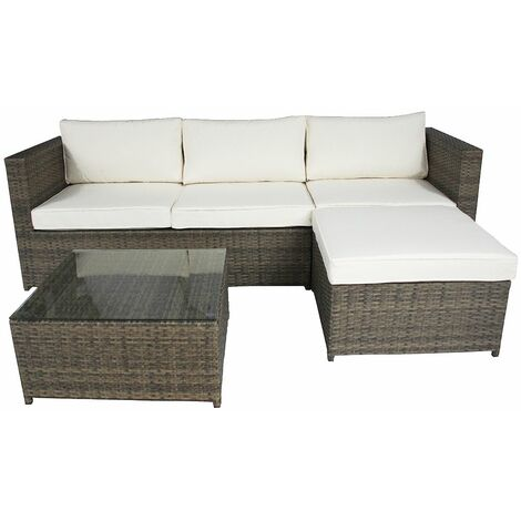 Charles Bentley L-Shaped 3 Seater Outdoor Rattan Furniture Lounge Set - Grey / Natural