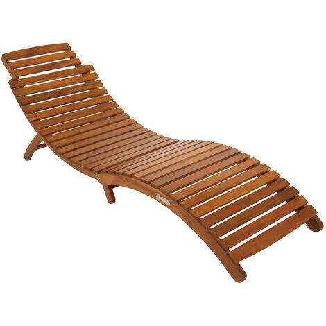 """main image of """"Charles Bentley Large Folding Curved Reclining FSC Wood Sun Lounger Patio Sunbed - Brown"""""""