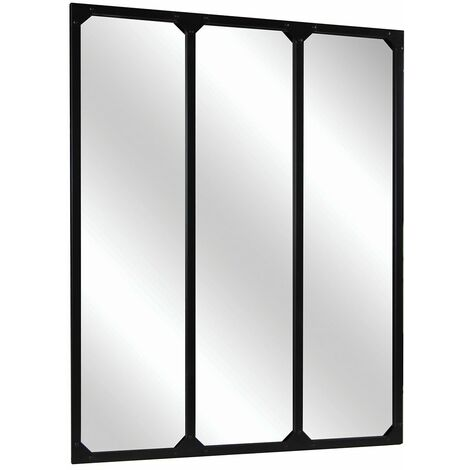 Charles Bentley Large Industrial Urban Wrought Iron Square Panel Mirror 95x120cm