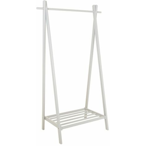 Charles Bentley Large Solid Wood Hanging Clothes Rail/Clothing Stand/Shoe Rack - White