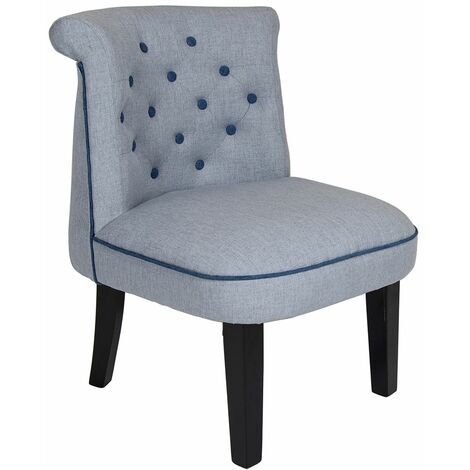 Charles Bentley Linen Occasion Accent Chair Grey with Blue Buttons and Piping