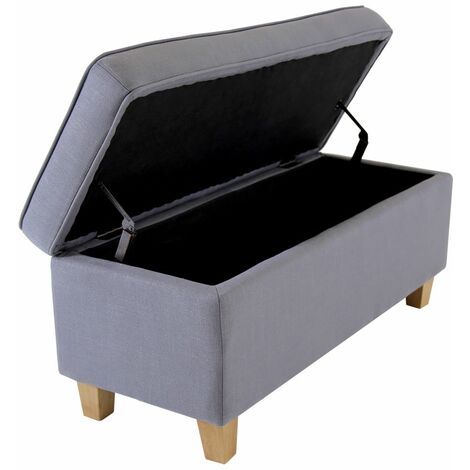 Charles Bentley Linen Storage Ottoman Bench Foot Rest Stool/Seat Dark Grey