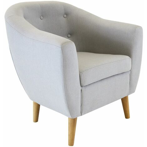 Charles Bentley Linen Tufted Upholstered Tub Button Armchair in Modern Grey