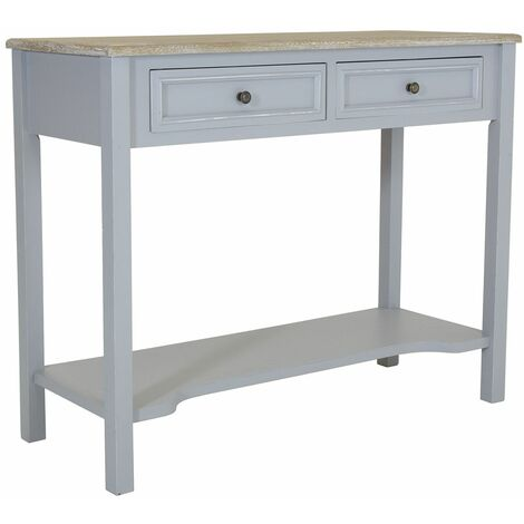 Charles Bentley Loxley 2 Drawer Wooden Storage Console Hallway Table Grey - Grey