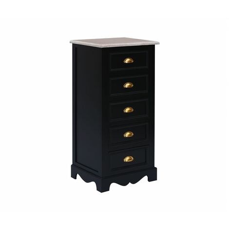 Charles Bentley Loxley Luxury 5 Chest of Drawers Tallboy Black - Black, Gold