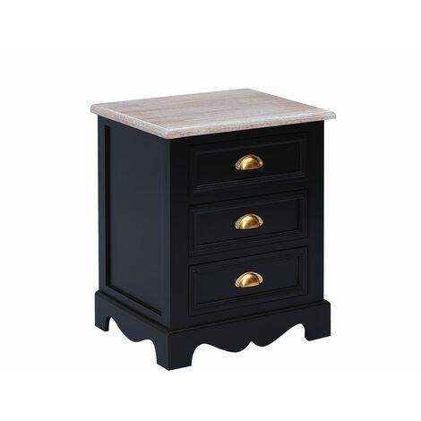 Charles Bentley Loxley Vintage Solid Wood 3 Drawer Bedside Table Cabinet Black - Black, Gold