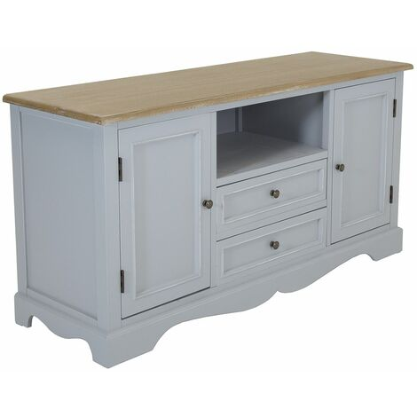 Charles Bentley Loxley Wooden Storage Cabinet Cupboard Table TV Unit Grey