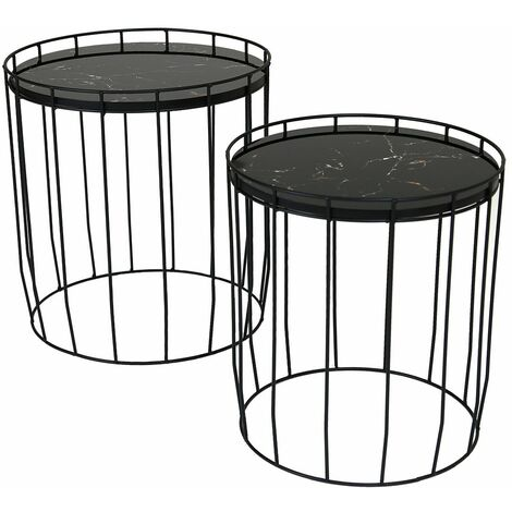 Charles Bentley Marble Effect Cage Side Table Set Black Basket Coffee Nesting - Black