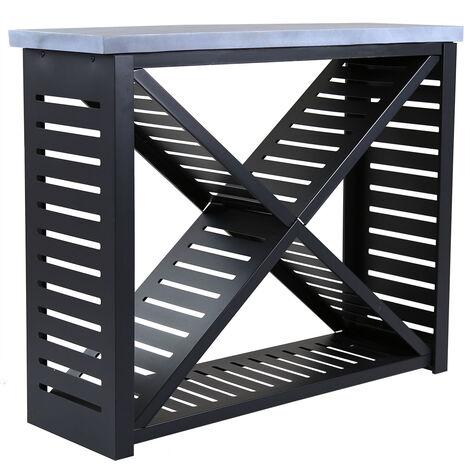 "main image of ""Charles Bentley Metal and Clay Fibre Top Large Log Store H95 x D38 x W117.5cm - Black"""