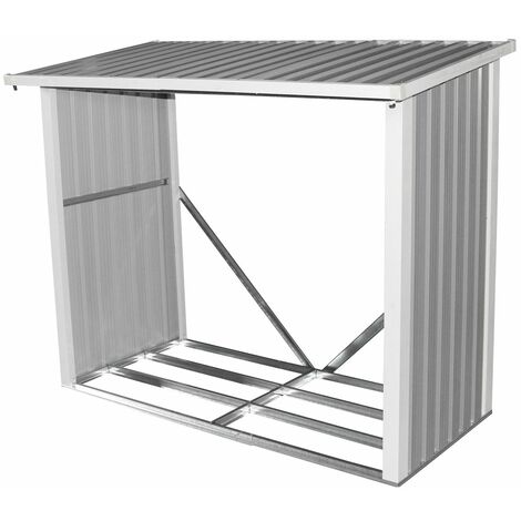 Charles Bentley Metal Log Wood Store Shed - 6x3ft (W182 x D89 x H148cm)