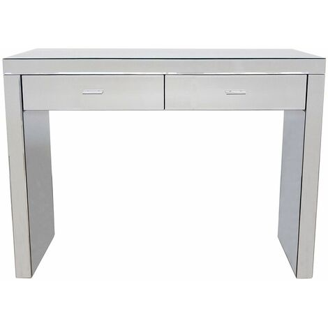 Charles Bentley Mirrored Glass Hallway Furniture 2 Drawer Dressing Console Table - Silver