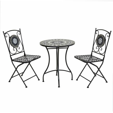Charles Bentley Mosaic Bistro Set for Two Garden & Outdoor Dining - Black