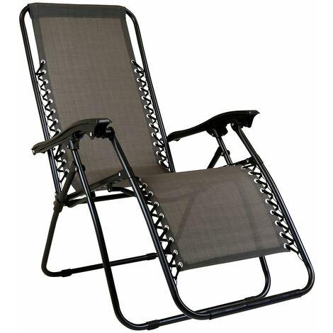 Charles Bentley Odyssey Folding Reclining Garden Chair Camping Lounger Grey - Gray