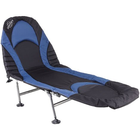 Charles Bentley ODYSSEY Premium Folding Camp Bed Sturdy Portable Lounger Chair - NAVY, BLACK