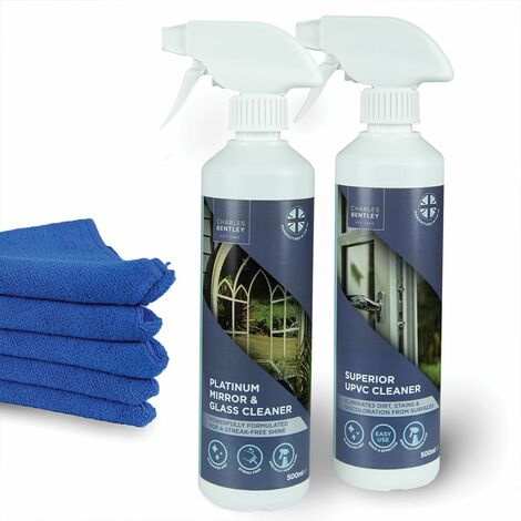 Charles Bentley Outdoor UPVC and Glass Cleaner Bundle with Microfiber Cloths