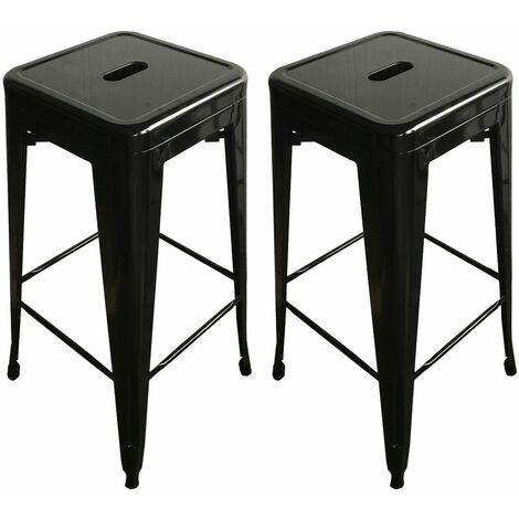 Admirable Charles Bentley Pair Metal Industrial Style Bar Stools 75Cm Machost Co Dining Chair Design Ideas Machostcouk