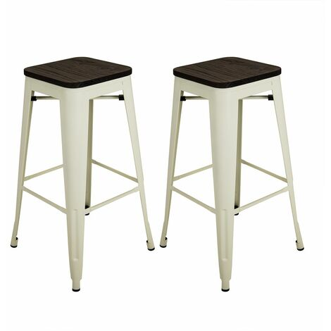 Charles Bentley Pair of 2 Steel Metal Industrial Wood Top Breakfast Bar Stools