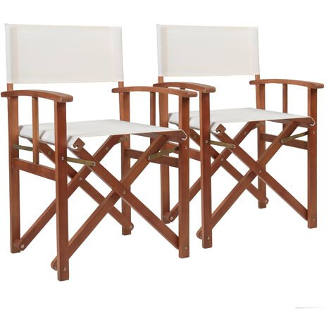 Charles Bentley Pair Of Folding Wooden Directors Chairs FSC Certified