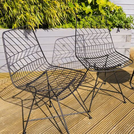 Charles Bentley Pair of Metal Outdoor Chairs Stylish Patterned Black Wire