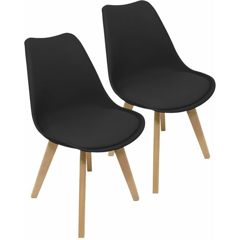 Charles Bentley Pair of Plastic Tulip PU Scandi Dining Chairs in Black Retro