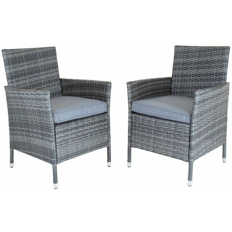 Charles Bentley Pair Of Rattan Dining Chairs Garden Furniture - Natural / Grey