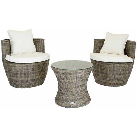 "main image of ""Charles Bentley 3 Piece Rattan Stacking Outdoor Patio Furniture Set - Natural / Grey"""
