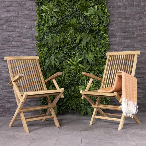 Charles Bentley Pair Of Solid Wooden Teak Garden Outdoor Folding Arm Chairs