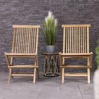 Charles Bentley Pair Of Solid Wooden Teak Outdoor Folding Garden Patio Chairs