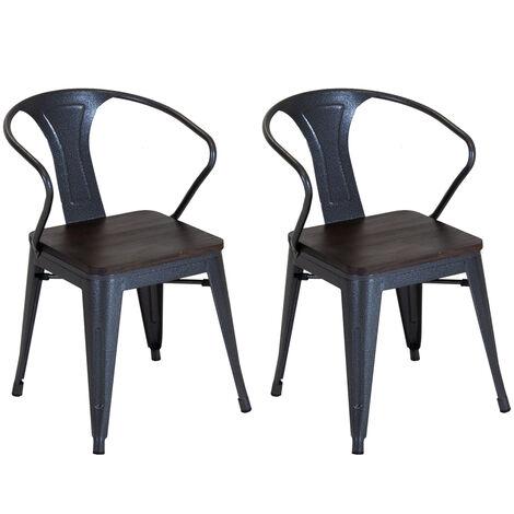 Charles Bentley Pair of Stackable Metal Industrial Wood Top Chairs Gunmetal Grey
