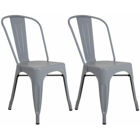 Charles Bentley Pair of Steel Metal Industrial Style Vintage Dining Chairs Grey