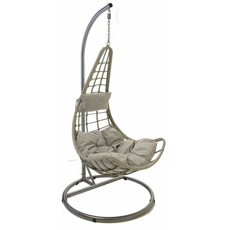 Charles Bentley Patio Outdoor Grey Rattan Hanging Swing Chair With Cushion