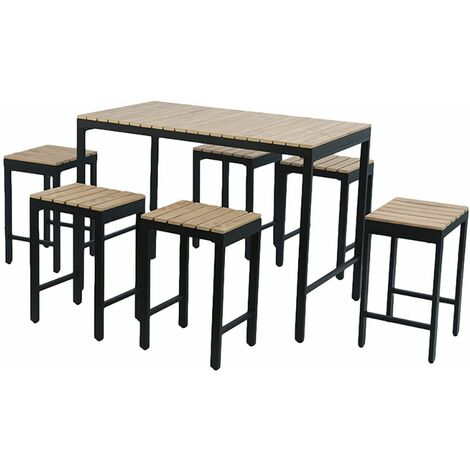 Charles Bentley Polywood and Extrusion Aluminium 6 Seater Bar Style Dining Set - Beige, Black
