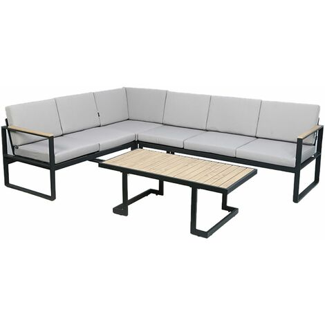 Charles Bentley Polywood and Extrusion Aluminium Corner Sofa and Coffee Table - Black, Beige, Grey