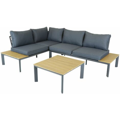Charles Bentley Polywood Lounge Set with Recliner Seat Multi use Wooden - Black, Gray